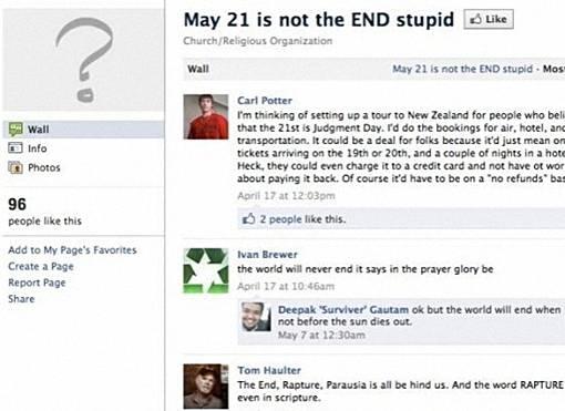 Alasan Kenapa Kiamat 21 Mei 2011 TIDAK Akan Terjadi - halaman facebook mengatakan tidak dan bodoh